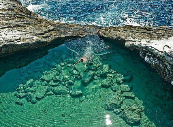 Giola a natural swimming pool in Thassos Island