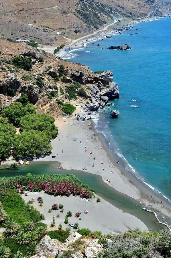 Preveli beach in the southern of Crete.